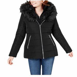 Maralyn & ME Black Faux Fur Puffer Coat NWT